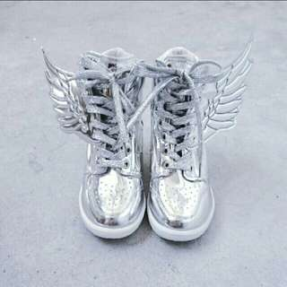 Metallic Silver Wings High Cut Shoe