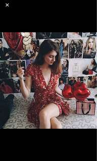 Floral red wrap dress