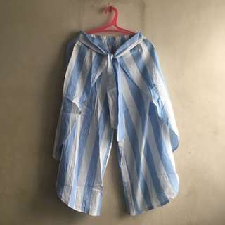 Wide Leg Pants Blue Striped