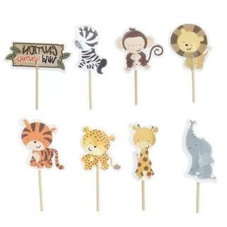 Safari animals cupcake toppers (set of 8)