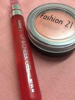 Fashion 21 Lip & Cheek Gel and Single Blush-On
