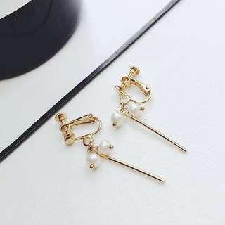 Korean Dangling Pearl Earrings