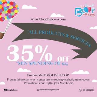 35% OFF ALL BALLOON PRODUCTS AND SERVICES