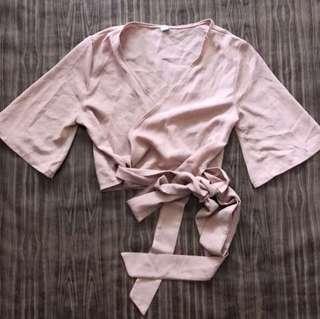 Vintage Thrift Nude Wrap Blouse