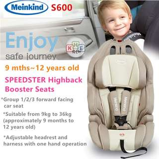 Meinkind Speedster Booster Car Seat for 9 months ~ 12 Years Old