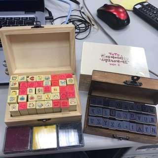 可愛圖案&英文字母印章三盒(贈三色印泥)