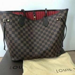 Genuine Louis Vuitton Neverfull MM Damier Ebene