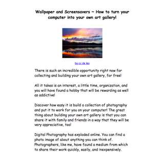 Wallpaper and Screensavers: How To Turn Your Computer Into Your Own Art Gallery! eBook