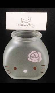 Sanrio Original 2005/06 Japan Hello Kitty Desktop Mini Glass Flower Vase Pen Cosmetic Storage Holder