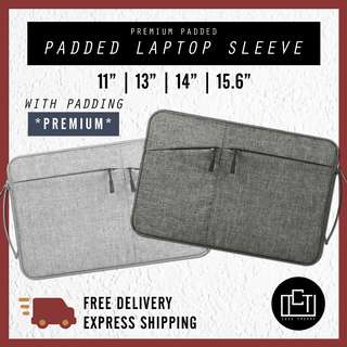 🔅cT🔅 Laptop Cover Sleeve PREMIUM PADDED HANDLE dark grey waterproof laptop bag casing