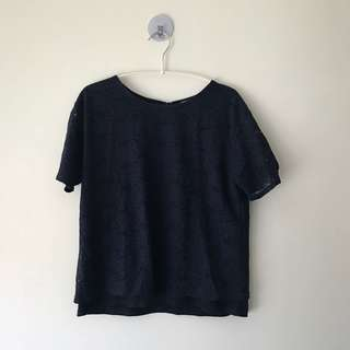Laced Top in Navy Blue
