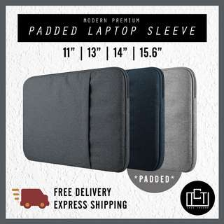 🔅cT🔅 Premium padded V2 thick inner padding laptop sleeve bag cover casing bag double padding zipped colour