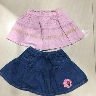 Preloved skirts (price for 2) ukuran sama utk anak 1 tahun