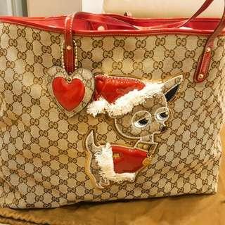 限量款!!gucci聖誕狗狗購物包!超稀有