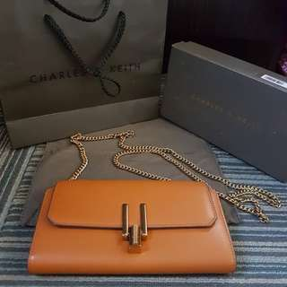 Authentic Charles & Keith wallet with gold chain