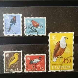 lapyip1230] 非洲烏干達 1963年 雀鳥