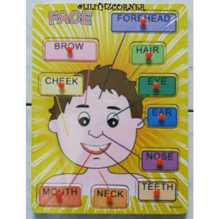 Parts of the Face Wooden Peg Puzzle
