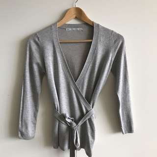 Zara Grey Wrap Top