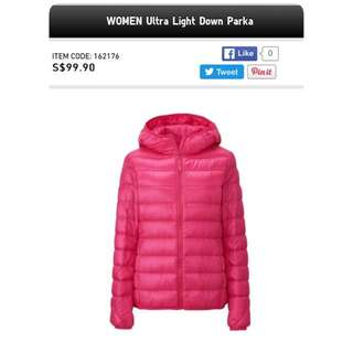 Uniqlo Women's Ultra Light Down Parka Jacket - Hooded Pink Tagged Size L