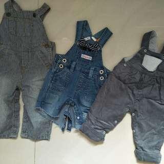 法國名品 寶寶吊帶褲三件組合 薄牛仔布料 牛仔布料 絨布布料 150元
