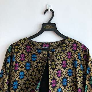 Ethnic long outerwear black gold bright colours
