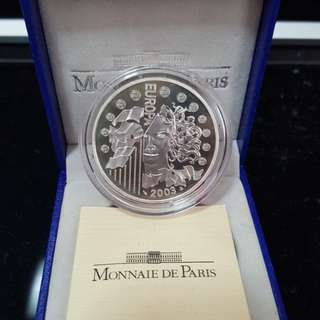 Euro silver proof coin 37mm