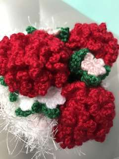 Crochet flowers carnations- red