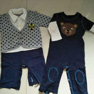 🚚 寶寶彈性布料連身服 舒服 軟質 兩件100元