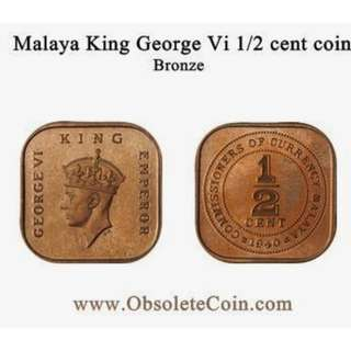 King George VI 1/2 cent coin