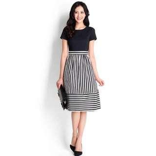 Midnight in Florida Dress (XS) in black stripes
