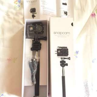 Snapcam with waterproof case and monopod