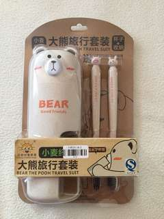 NEW Bear toothbrush travel set