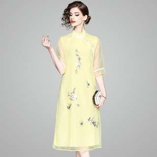 Modern cheongsam Qipao shift loose waist dress plus size