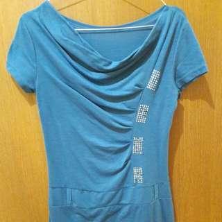 Preloved Mini Dress Hijau Tosca Fit to L Mat Lentur