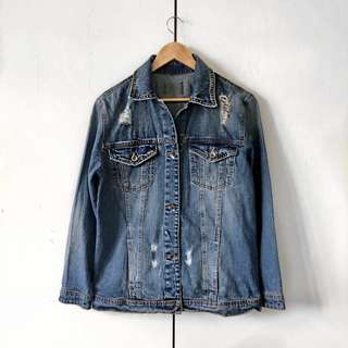 Stradivarius Distressed Denim Jacket