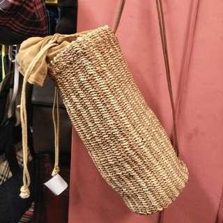 復古古著編織肩背圓桶包 皮繩