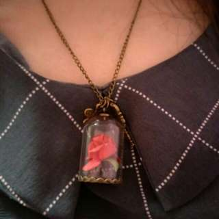 Rose Flower Dome Necklace