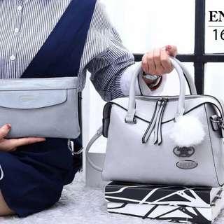 Set 2 in 1 ENYA Marcel Vintage Satchel-Style Handbag Soft Leather Hardware Black 1627