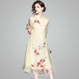 Natural mulberry silk modern cheongsam Qipao tunic loose embroidered dress with sheer sleeve plus size