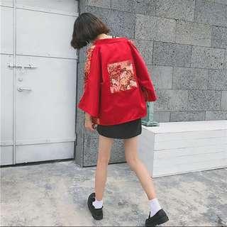 韓版上衣秋季 刺繡歌舞伎聽和服 七分袖