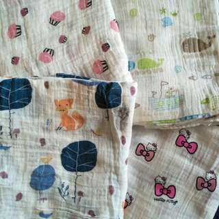 Instock Baby muslin swaddle cloth fox cupcake hello kitty whale