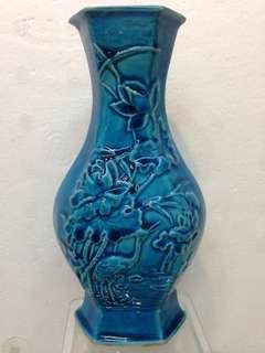 Porcelain-珐翠釉荷花六方并H19cm