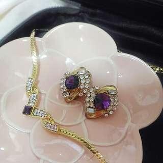 紫金耳環項鍊套組
