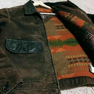 古著 Marlboro重磅復古皮領工裝外套 內鋪毛毯 五金精緻 斯洛伐克製 vintage 超稀有