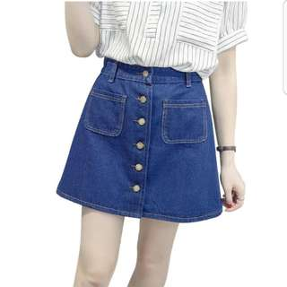 Dark blue Denim Button Down A-line Jeans Skirt