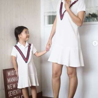 ☑️ INSTOCKS 3-15Y Girls White Collar Dress G2101J (Mother size available)