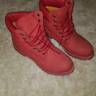 Authentic All Red Timbs!! Men's 8.5