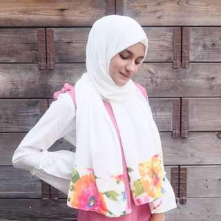 Pashmina putih floral