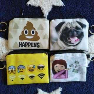 In-stock cool prints coin purse with keyring