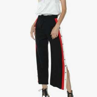 snap pants / button up slit pants